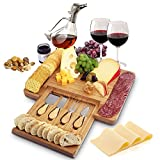 Home Euphoria Natural Bamboo Cheese Board and Cutlery Set with Slide-out Drawer. Serving Tray for...