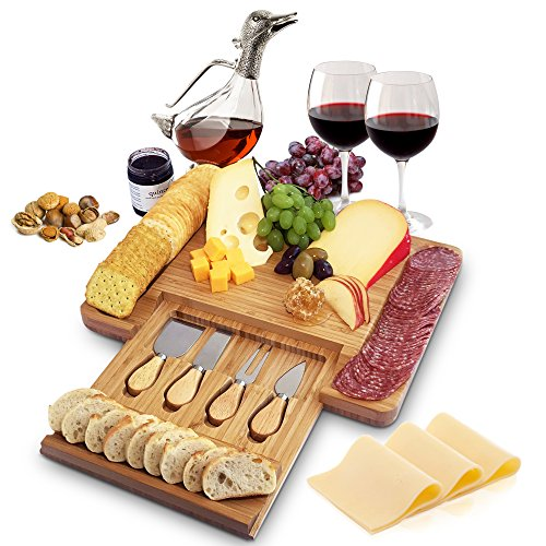 Home Euphoria Natural Bamboo Cheese Board and Cutlery Set...