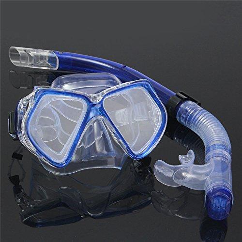 KINGDUO Conjunto de Snorkel de Buceo para Adultos Máscara de Buceo + Gafas de Agua Snorkel Equipo de Traje de Buceo de natación - Azul Oscuro