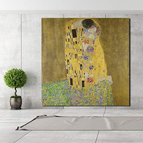 KWzEQ Kuss des berühmten Malers Retro Leinwand Poster Malerei Wohnzimmer Hauptdekoration Moderne Wandkunst,Rahmenlose Malerei,60x60cm