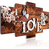 AWLXPHY Decor Home Love Angel Flower Canvas Wall Art Painting 5 Panels Framed for Living Room Decoration Modern Still Life Love Stretched Print Artwork Giclee Wedding Gift (Brown, 40' Wx20 H)