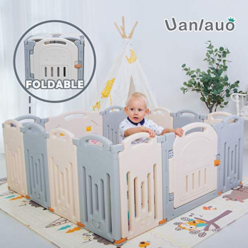 Uanlauo Laufgitter Laufstall Baby Absperrgitter Krabbelgitter Schutzgitter (14Panel Grey)