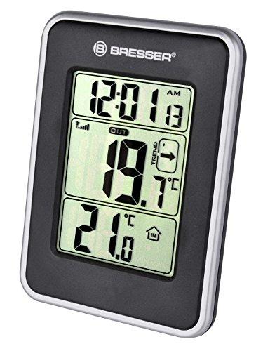 Bresser Temperaturstation Temeo io mit Innen / Außentemperaturanzeige, MIN/MAX Wertespeicher, grafischer Temperaturprognose, Zeitanzeige und Außensensor, schwarz