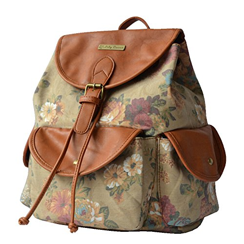 BYD - Donna Female zainetto backpack School Bag Travel Bag Printed Flower Design with Metal Brand Card and PU Leather Flip