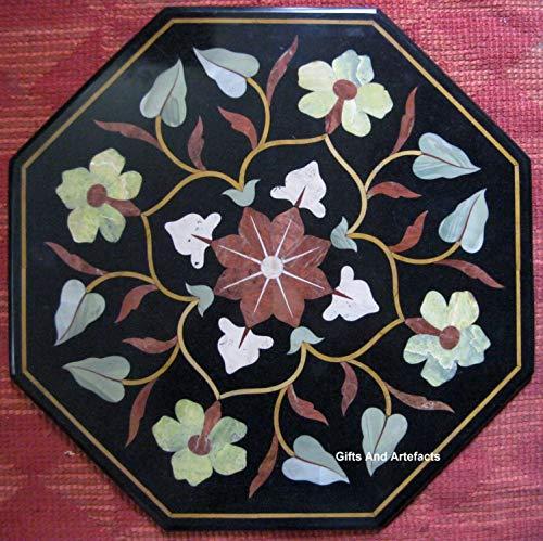 Cadeaus En Artefacten Octagon Zwart Marmeren Patio Koffietafel Top Pietra Durs Art Met Edelstenen Bladeren Patroon Patio Bijzettafel, 24 Inch