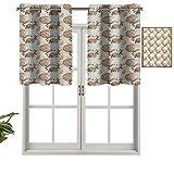 Hiiiman Cortinas térmicas aisladas con cenefa de cortina con diseño de flores de pétalos y hojas, juego de 1, 91,4 x 45,7 cm para decoración de salón comedor