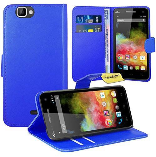 FoneExpert® Wiko Rainbow 3G / 4G Handy Tasche, Wallet Hülle Flip Cover Hüllen Etui Ledertasche Lederhülle Premium Schutzhülle für Wiko Rainbow 3G / 4G (Blau)