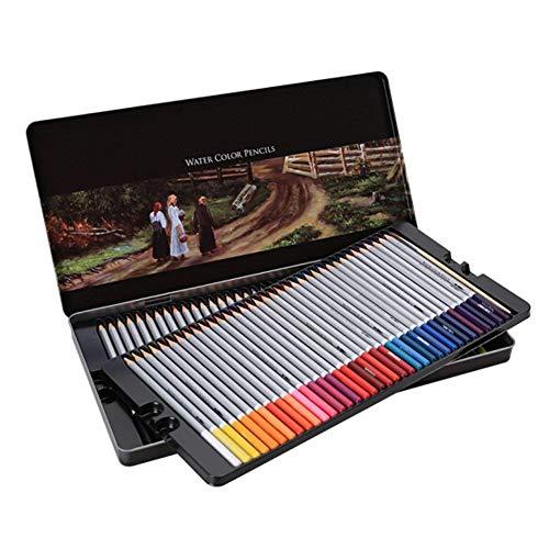 Lvein 72 kleurpotloden met metalen doos aquarel pennen gekleurde potloden set niet-giftige gekleurde potloden voor kinderen volwassen volwassen volwassen schilderij tekening