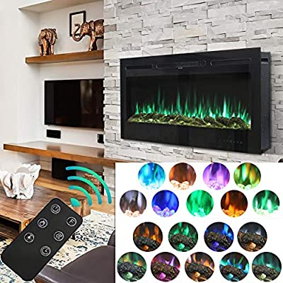 DKIEI Electric Fireplace Wall Mounted Insert Electric Fire with Remote Control, 9 Colours Flame,900W/ 1800W Heater with Timer