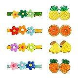 Migimi 8 pinzas para el pelo para niñas, pequeñas pinzas para el pelo, joyas para bebés, accesorios para niñas, en 8 diseños diferentes de frutas y flores