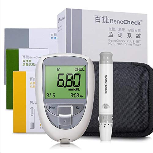 Summer Diabetes Testing Kit, 3-In-1 Multifunctional Home Blood Glucose, Uric Acid and Cholesterol Monitor with 10 Uric Acid + 10 Cholesterol + 25 Blood Glucose Meter