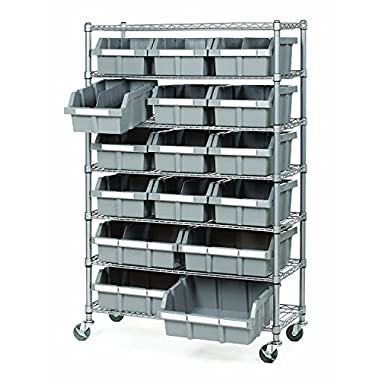 Seville Classics Commercial 7-Tier Platinum/Gray NSF 16-Bin Rack Storage System