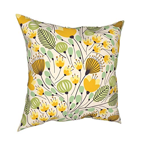 Throw Pillowcase Pillow Covers 18x18 Inch Elegant With Yellow Flowers decoration for Home Decor Office Sofa Holiday Bar Coffee Wedding Car