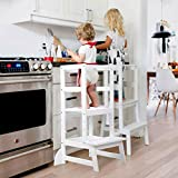 Küchenhelfer für Kinder Made in EU Holz Montessori Lernturm Weiß Küchenhelfer Ständer Küchenhocker