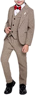 Boys Winter Vintage Tuxedo Suits 3 Pieces Jacket Vest and Pants Set Black and Coffee