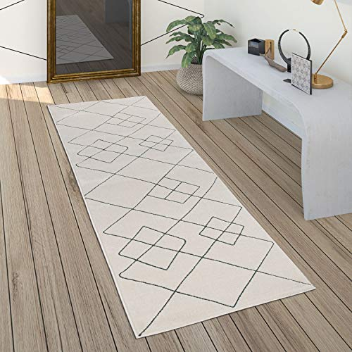 Paco Home Tapis Salon Scandinave Motif Diamant Moderne Blanc Différents Designs Tailles, Dimension:80x150 cm, Couleur:Blanc