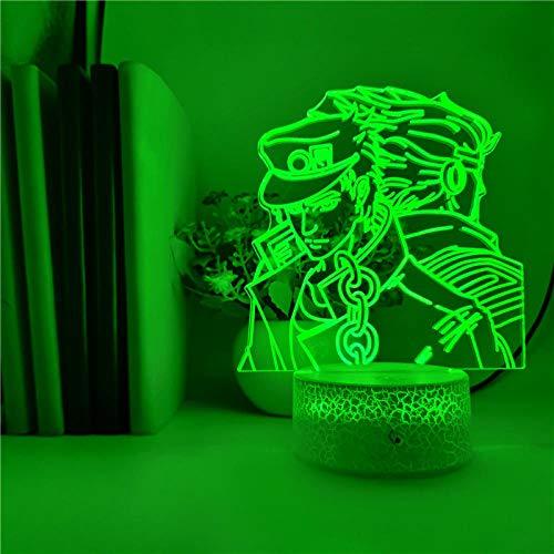 3D Illusion Lamp Led Night Light Kujo Jotaro Veilleuse JoJo Bizarre Aventure Anime Enfants Jouets Horloge Socle E Acrylique 7 Couleurs Fête Atmosphère
