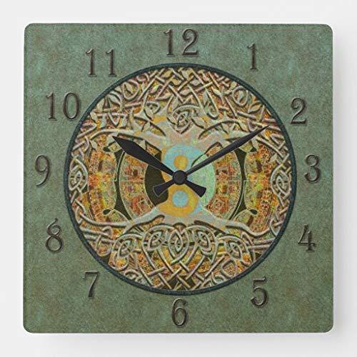 Kysd43Mill Yin Yang Reloj de pared cuadrado de madera con aspecto de árbol de la vida, para sala de estar, habitación de los niños, niñas y niños, 30,4 cm, regalo de inauguración de la casa