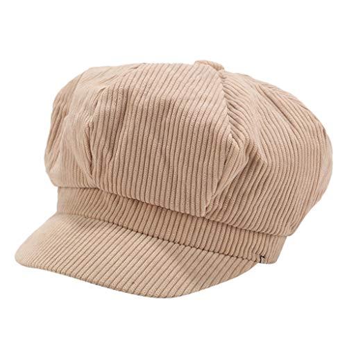 Sannysis Schirmmütze Einfacher Stil Vintage Baskenmütze Damen Bakerboy Mütze Cord Kappe Sommer Herbst Ballonmütze Barett Cap Khaki