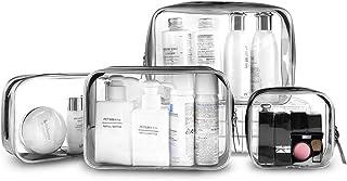 Gobesty Bolsa de artículos de tocador de Viaje Transparente, 4 trousses de maquillage Transparentes organisateur cosmétique pochette de Voyage en PVC trousse de Toilette imperméable Sac de lavage