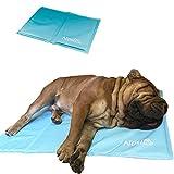 Nosli Kühlmatte für Hunde und Katzen - Idealer Schutz bei Hitze für Haustiere - Kältematte Selbstkühlend in verschiedenen Größen/Ice Blue M