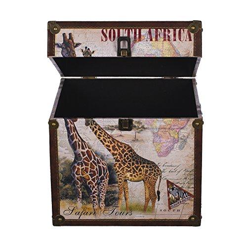 Truhe Kiste KD 385 , Holztruhe mit Canvas bezogen im Vintage Look, Schatzkiste,Kiste, Piratenkiste, Kleinmöbel, Mit Metallbeschlägen, Antikoptik, Holz, verschieden Größen, Maritim, Deko, Hochwertig, Kolonialtruhe, Kolonialstil, Holzbox, Truhe mit Ornamenten . (Größe XL 30 x 30 x 30 cm Giraffe)