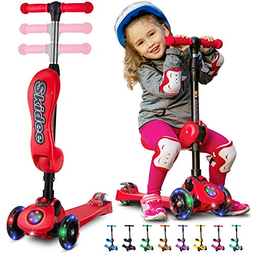 S SKIDEE Y100 Kick Scooter for Kids, Red