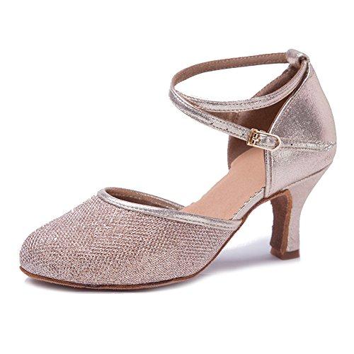 HIPPOSEUS Zapatos de Baile de salón para Mujer con Correa Cruzada Zapatos de Baile de Tango para Fiesta, Modelo WX-CL