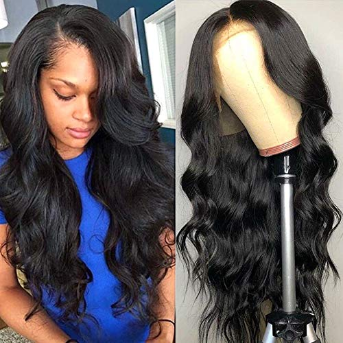 Wingirl HD Transparent Lace Front Human Hair Wigs for Women Pre Plucked Hairline 180% density Brazilian Body Wave Lace Front Wigs with Baby Hair Natural Color … (20Inch, 180% density)