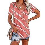 Zytyeu Tops Mujer Elegante Botón De Impresión Tapeta Mujer Camisa Generoso Casual Temperamento Clásico Transpirable Diseño Exquisito Elasticidad Agradable para La Piel Mujer Blusa H-Pink XL