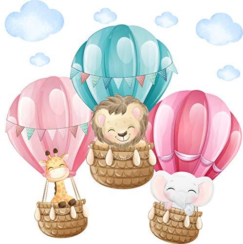 greenluup Öko Tapetensticker Wandsticker Wandtattoo fliegende Dschungeltiere im Heißluftballon mit Wolken Mädchenzimmer Babyzimmer Kleinkind