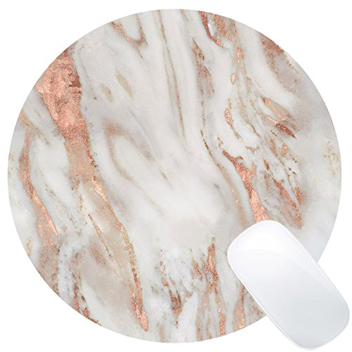 Wknoon Rose and Eggshell Marble Mouse Pad Round Mat