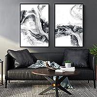 ウォールアートキャンバス絵画ブラックホワイト抽象インクテクスチャ北欧のポスターとプリントリビングルームの装飾のための壁の写真-50x70cmx2フレームなし