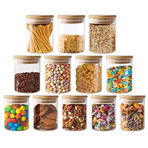 VINILITE Set di 12 Barattoli in Vetro con Coperchio Ermetico e Rondella in Silicone, 300ML Contenitori Alimentari da Cucina in Vetro Borosilicato per Tè, Caffè, Pasta, Cereali e Spezie