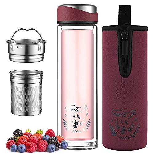 ecooe Botella de té con siesta, 440 ml, doble pared, con colador de acero inoxidable 18/8 y bolsa protectora, para té, café, zumo y batido