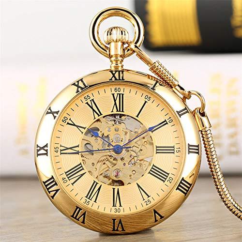 NOBRAND Reloj de bolsillo, con números romanos antiguos, reloj de bolsillo mecánico, estilo vintage con colgante de reloj de bolsillo para caballeros, color dorado