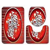 Asiento De Inodoro 3 Piezas Moda Navidad Bigote Rojo Alfombra De Baño Conjunto De Franela Decoración Del Hogar Cojín De Inodoro Cubierta Alfombra De Baño Asiento De Navidad-No.16_45X75Cm 3Pcs