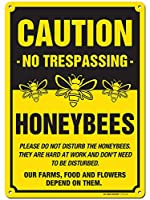 My Sign Center Caution Bees Sign No Trespassing Honey bees at Work .040 錆びない黄色アルミニウム製 屋内/屋外使用 紫外線保護 色あせ防止 10インチ x 14インチ