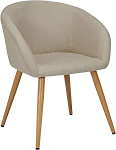 Sedia da Sala da Pranzo in Tessuto (Lino) Crema Design Retro con Piedini in Metallo Effetto Legno Sedia Imbottita Cucina Vintage Selezione Colore Duhome WY-8023
