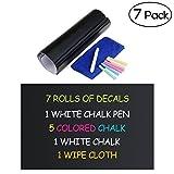 NUOLUX Ardoise autocollant mur autocollant 6 couleur craie et chiffon gomme inclus - tableau noir papier Contact vinyle Chalk...