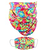 Neck Gaiter and Matching Face Mask Made in The USA Cotton Poly Masks & Balaclava - Neon Flowers