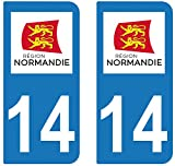 supstick 2 STICKERS AUTOCOLLANT PLAQUE IMMATRICULATION DEPT 14 Normandie