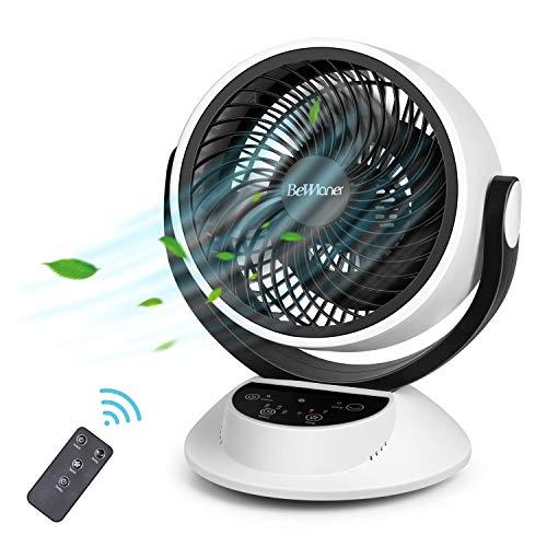 Bewlaner Turbo-ventilator met afstandsbediening, ventilator met 3 snelheden + timer, tafelventilator met lcd-display, stil en krachtig draaibaar, 40 watt (wit)