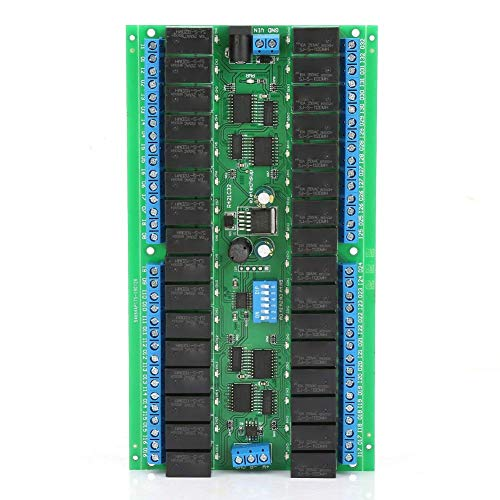 YINGGEXU Relay Relay Module, DC12V Serial Port 32 Channels Switch Control Relay Module with Six Working Modes Open Close Jog Self-lock Interlock and Delay Industrial