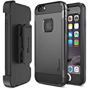 Trianium iPhone 6 / 6s Case [Duranium Series] Holster Case for Apple iPhone 6 6s w/Built-in Screen Protector Heavy Duty + Ultra Protection Phone Cover [Black/Gunmetal](TM000180)