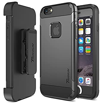 Trianium iPhone 6 / 6s Case [Duranium Series] Holster Case for Apple iPhone 6 6s w/Built-in Screen Protector Heavy Duty + Ultra Protection Phone Cover [Black/Gunmetal] TM000180