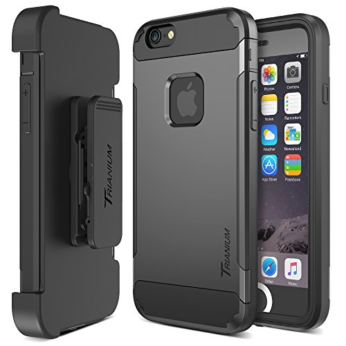 Trianium iPhone 6   6s Case [Duranium Series] Holster Case for Apple iPhone 6 6s w Built-in Screen Protector Heavy Duty + Ultra Protection Phone Cover [Black Gunmetal](TM000180)