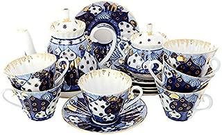 Lomonosov Porcelain Tea Set 6/ 14教会ドームOrthodoxベル: Tea Pot , Sugar Bowl and 6カップwith Saucers