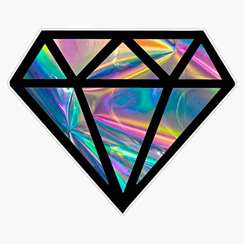 Holographic Diamond (Simulated) Vinyl Waterproof Sticker Decal Car Laptop Wall Window Bumper Sticker 5'