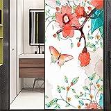 Xijier Vinilo decorativo para ventana con diseño de mariposa de flores, privacidad no adhesiva, vidrio esmerilado para puerta, ventana, para hogar, oficina, 40 x 60 cm